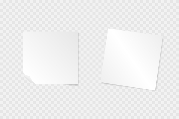 투명 한 배경에 그림자와 종이 노트. 프리미엄 벡터