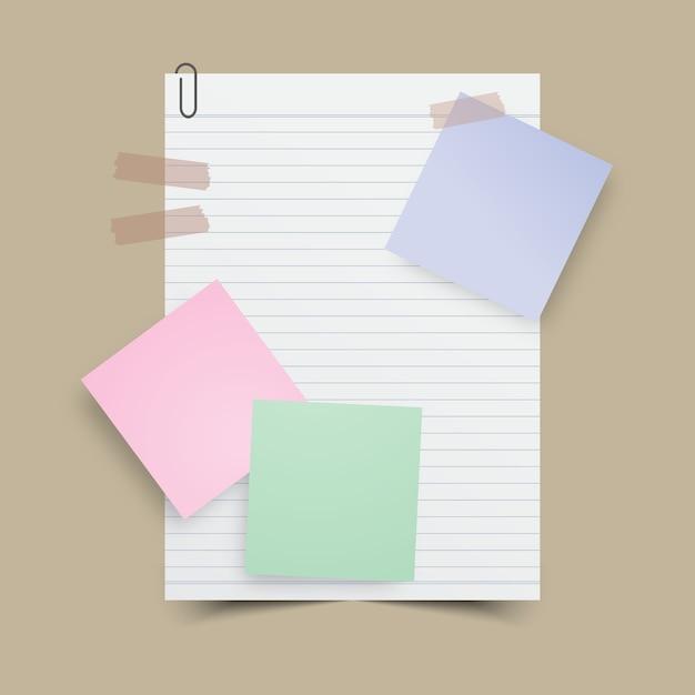 Бумажная нота с запиской и лентой. векторная иллюстрация. Premium векторы