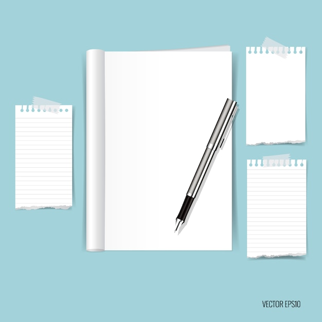 Paper notes on blue background Free Vector