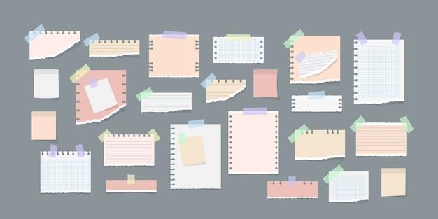 Бумажные заметки на стикерах иллюстрации Premium векторы