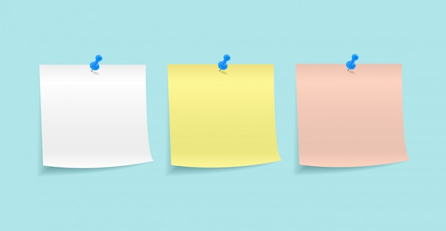 Бумажные заметки, закрепленные кнопкой Premium векторы