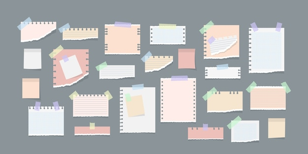 Paper notes on stickers illustration Premium Vector