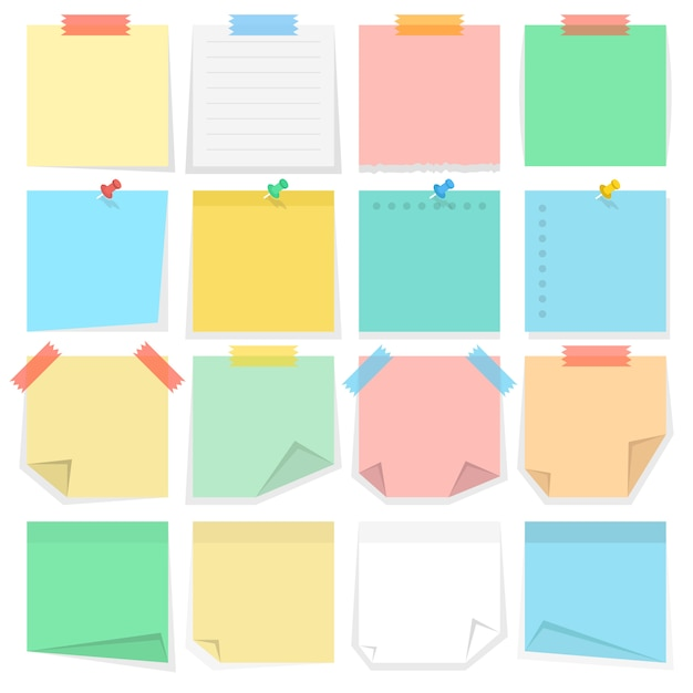 Paper notes and stickers Premium Vector
