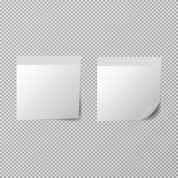 Шаблон бумажных заметок на прозрачном фоне Premium векторы