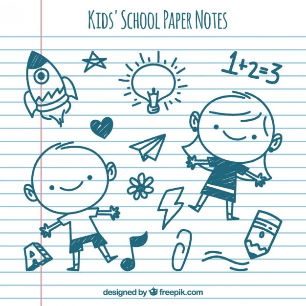 Paper notes with children drawings Premium Vector