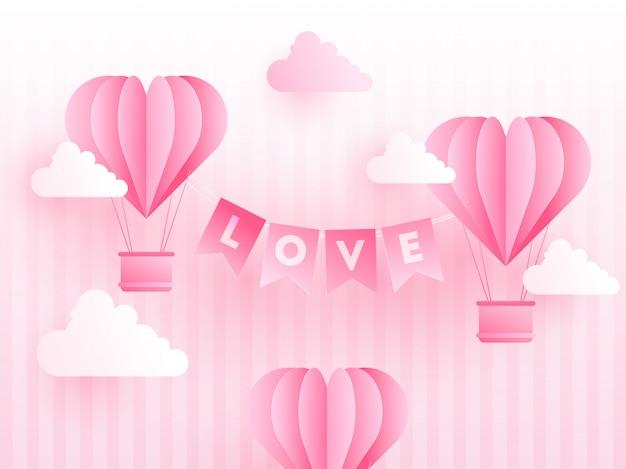 Бумажные оригами в форме сердца на воздушных шарах с любовными буквами Premium векторы