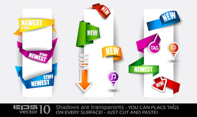Paper and origami style tags collection Premium Vector