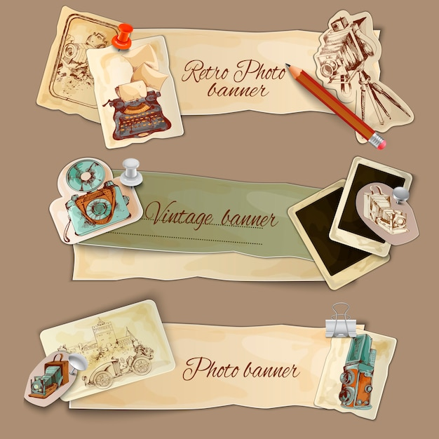 Paper photo banners Free Vector