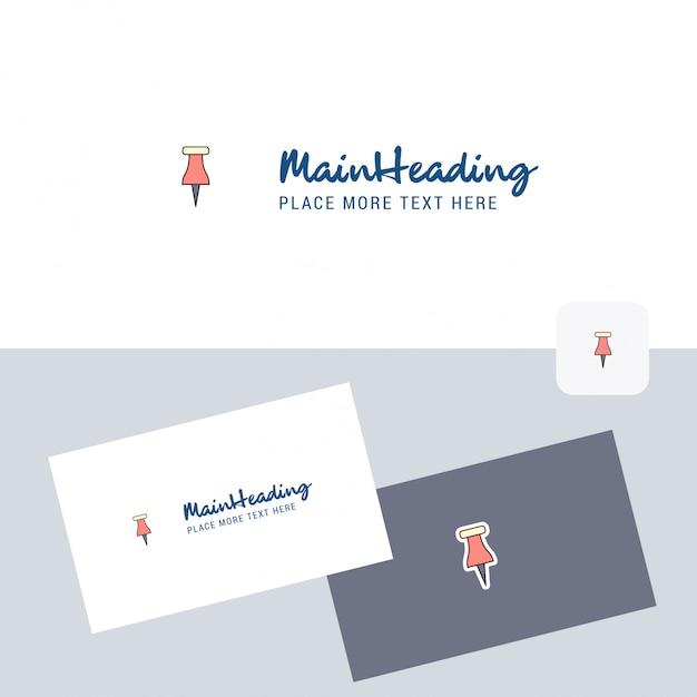 Paper pin vector logo with business card Free Vector