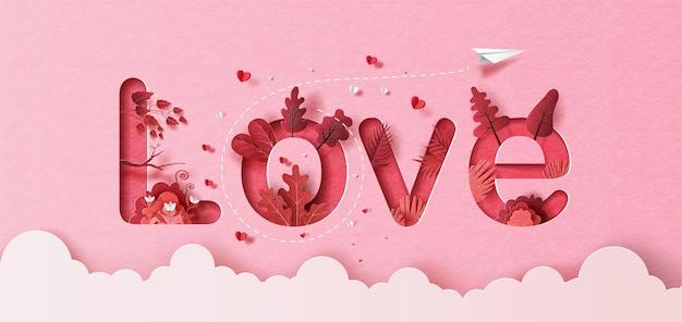 Бумажный самолетик с воздушным шаром сердца, плавающим в небе, любовным текстом в бумажной иллюстрации, бумаге. Premium векторы