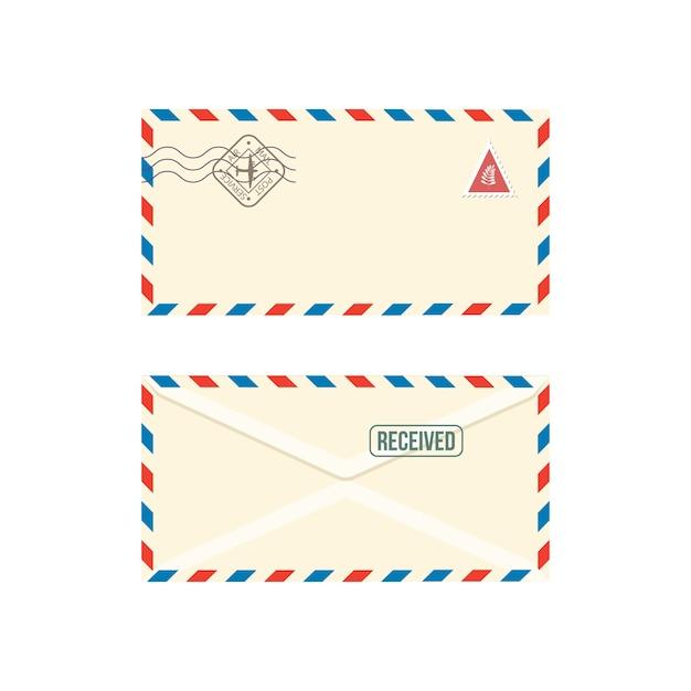 白い背景の上のスタンプのリアルなイラストと紙の郵便封筒。ポストスタンプ文字または通信ポストメッセージのセット。 Premiumベクター