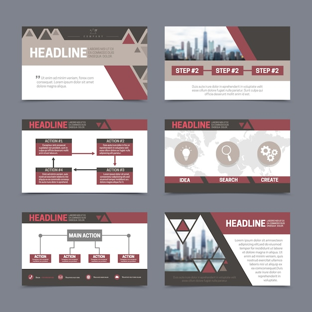Paper presentation and report design templates set with abstract elements Free Vector
