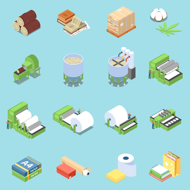 Paper production icons set with printing symbols isometric isolated Free Vector