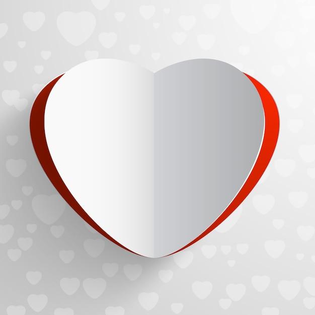 Бумажная красно-белая открытка на день святого валентина в форме сердца Бесплатные векторы