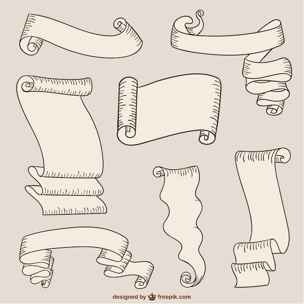 Paper ribbons and scrolls Free Vector
