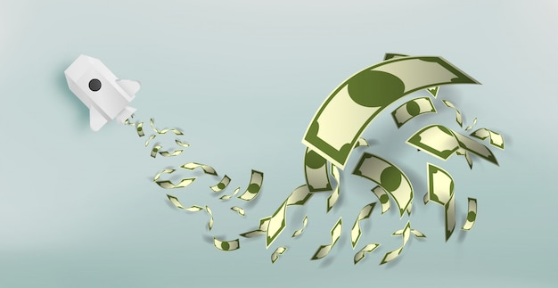 Paper rocket with a lot of money vector illustration Premium Vector