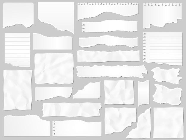 Бумажные отходы. разорванная бумага, порванные кусочки страниц и набор иллюстраций кусочков бумажных записок Premium векторы