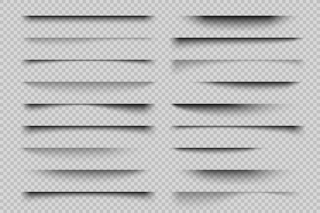 종이 그림자 효과. 현실적인 투명 오버레이 그림자, 포스터 전단지 명함 배너 그림자. 요소 구분선 프리미엄 벡터