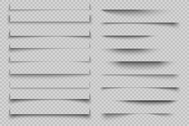 Эффект тени бумаги. прозрачные реалистичные тени страниц с углами, рекламные плакаты с углами. шаблон Premium векторы