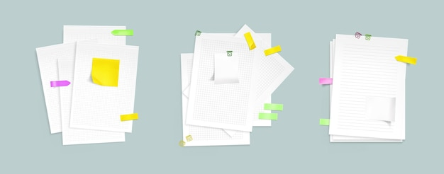 Pile di fogli di carta con foglietti adesivi e clip. Vettore gratuito