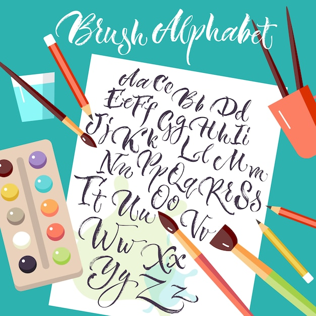 Paper sheet with hand drawn alphabet Free Vector