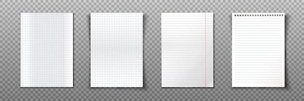 Paper sheets collection of a4 format. Free Vector