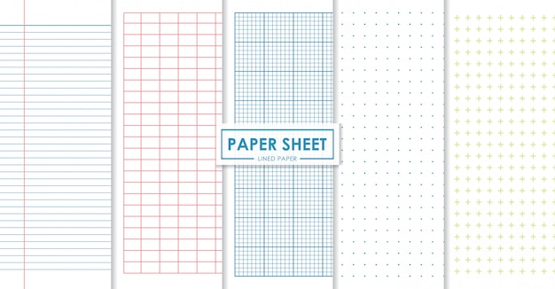 Paper sheets lined and dots collection Premium Vector