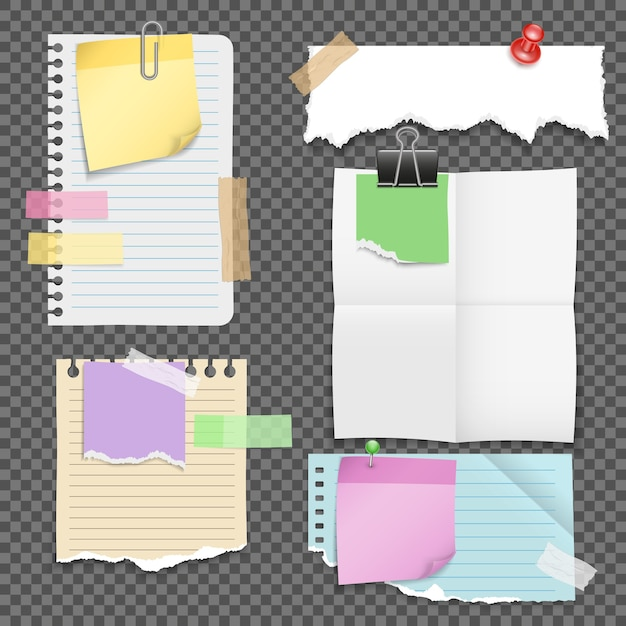 Paper sheets with stationery set Free Vector