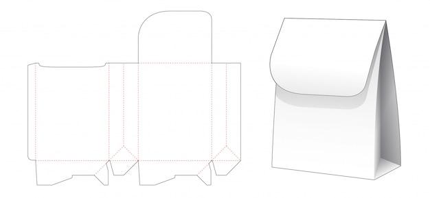 Paper shopping bag with top flip die cut template design Premium Vector