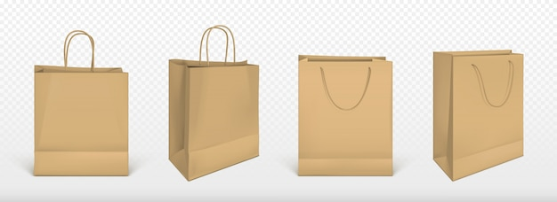 Paper shopping bags, blank packages set Free Vector