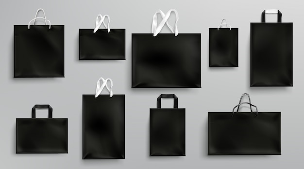 Paper shopping bags mockup, black packages set Free Vector