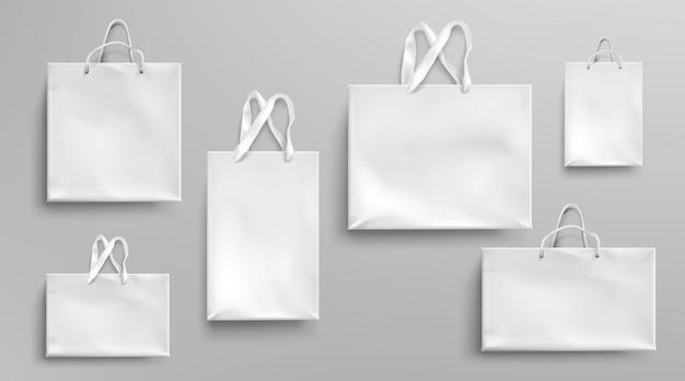 종이 쇼핑백 이랑, 로프와 레이스 핸들, 빈 사각형 생태 선물 팩, 브랜딩 및 기업 아이덴티티 디자인, 현실적인 3d 세트를 모의 흰색 패키지 무료 벡터