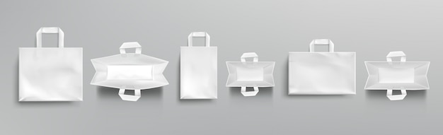 Paper shopping bags top and front view mockup Free Vector