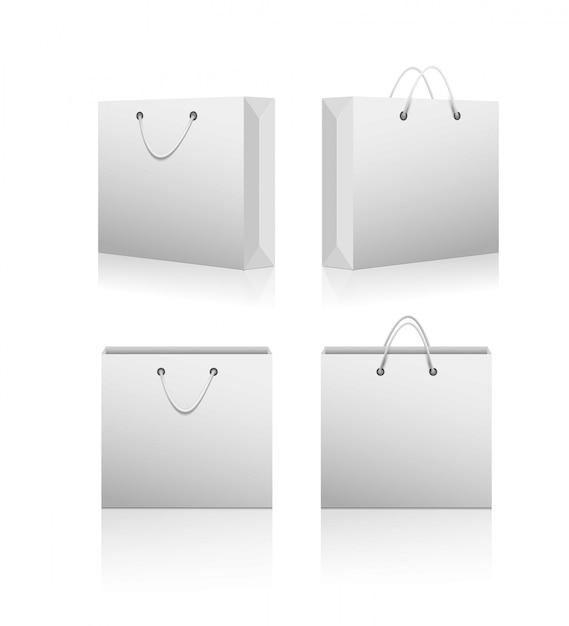 Paper shopping blank bags. Premium Vector