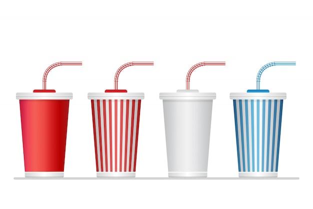 종이 음료수 컵 세트 흰색 절연 프리미엄 벡터