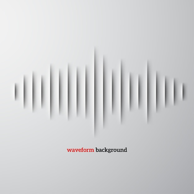 Paper sound waveform with shadow Premium Vector