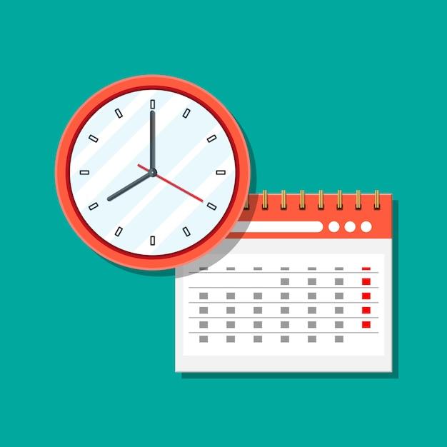 Paper spiral wall calendar and clocks. Premium Vector