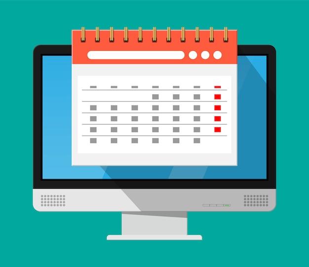 Paper spiral wall calendar in computer Premium Vector