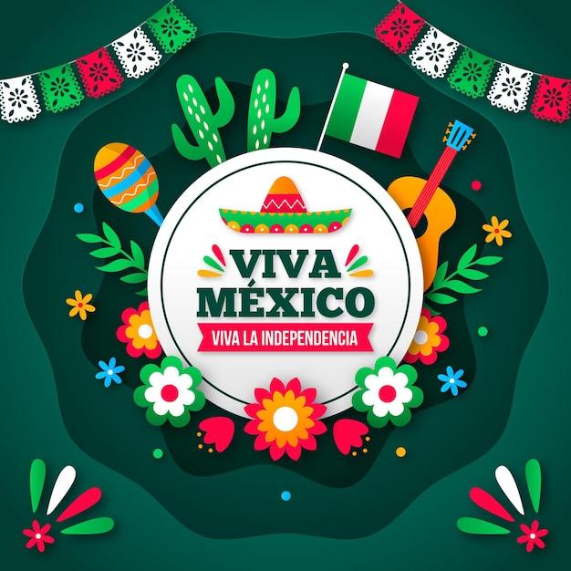 Стиль бумаги фон независимости мексики Premium векторы