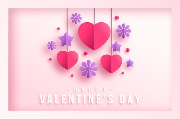 星とバレンタインの心と紙スタイルの背景 無料ベクター