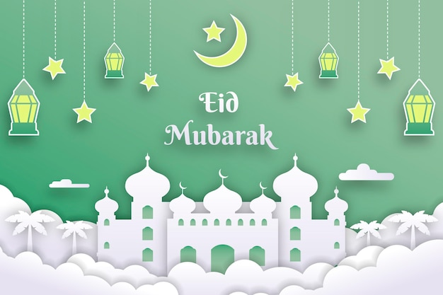 Paper style eid mubarak landscake with mosque and lanterns Premium Vector