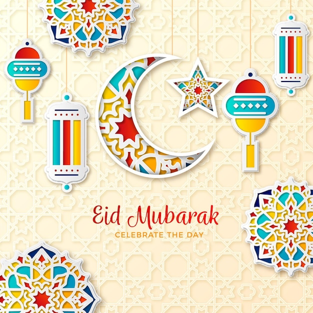 Paper style eid mubarak moon and candles with ornaments Free Vector