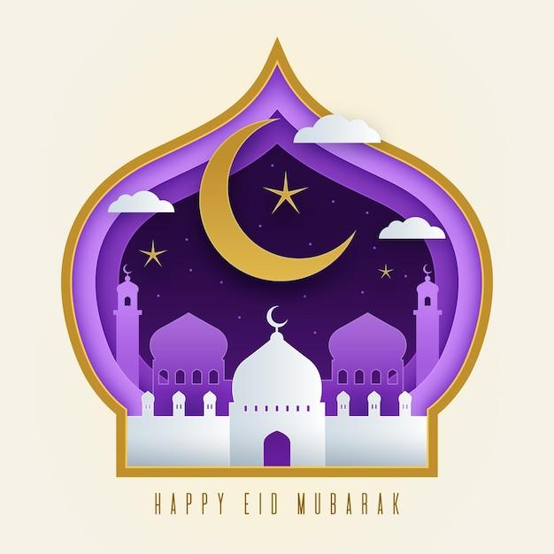 月とモスクの紙風イードムバラク Premiumベクター