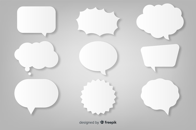 Paper style flat speech bubble collection Free Vector