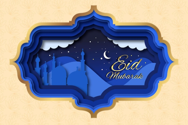 Бумага в стиле happy eid mubarak ночное небо Бесплатные векторы