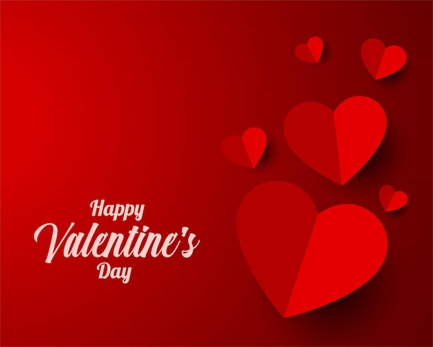 Paper style heart valentines day design Free Vector