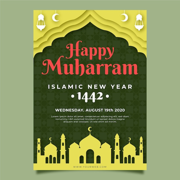 Paper style islamic new year poster template Free Vector
