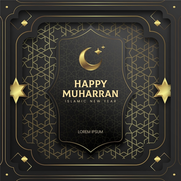 Paper style islamic new year poster Free Vector
