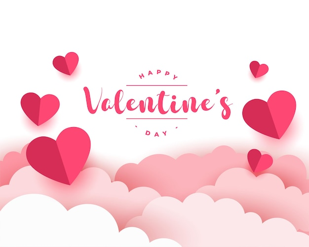 Paper style realistic valentines day card design Free Vector