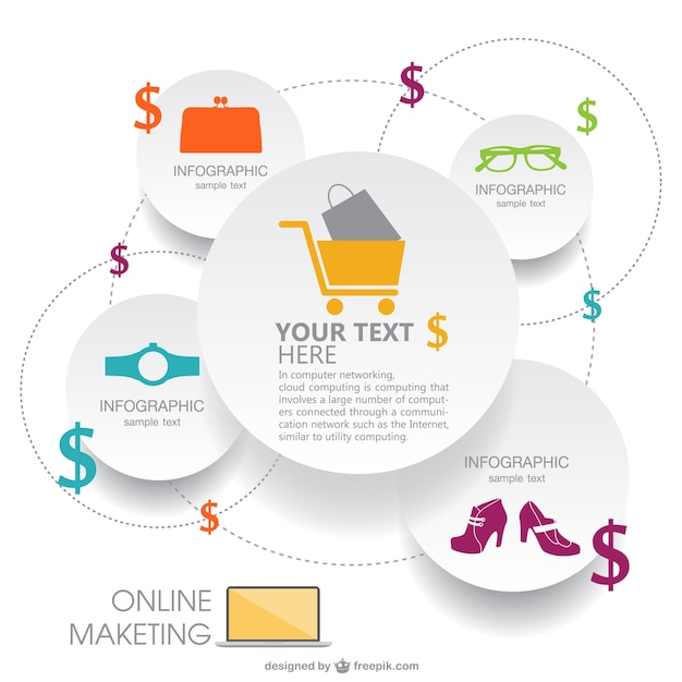 Paper style shopping infographic Vector | Free Download